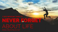 THE JOY BLOG: 3 Very Important Things to NEVER  Forget About Life - This for when you feel like you just can't live another day.