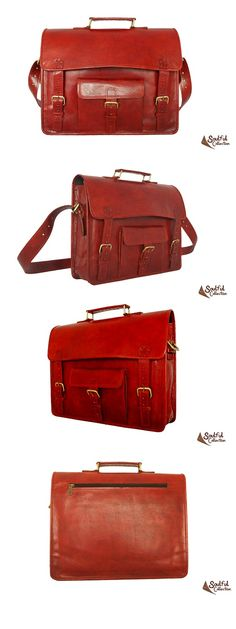 Red Leather Satchel For Women 15""