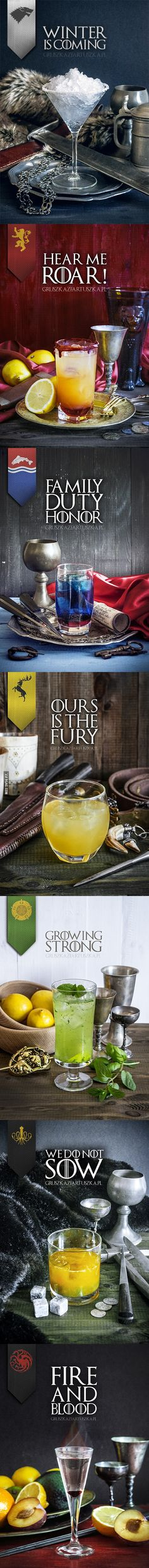 GAME OF THRONES 1)100ml tonic,30ml gin,1tsp  lemon juice 2)20ml grenadine, 100ml mango juice,70ml light rhum, ice 3)40ml strawberry syrup,50ml Blue Curacao liqueur,100ml Sprite,ice 4)50ml water,50ml  honey,50ml gin,30ml lemon juice,30ml orange juice, ice 5)4 mint leafs,4 basil leafs, 1 spoon sugar, 50ml lime juice, 80ml gin, 50-80 ml tonic,ice  6)1/3 tbsp grated ginger,3 slices of orange,15 ml lemon juice,30ml Cointreau, 60ml whisky. 7) drops  grenadine, 30ml clear, strong rum, a shred of…