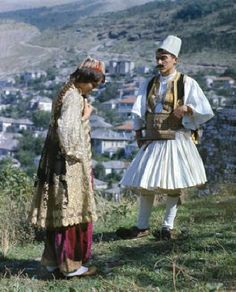 Fustanella [fustaˈnɛɫa]: traditional skirt-like garment worn by men. It is very similar with Skotish kilt. The fustanella has a lot of hems and it usually is white.