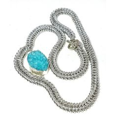 Box chain blue druzy asymetrical necklace, statement necklace, gift... (€49) ❤ liked on Polyvore featuring jewelry and necklaces