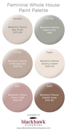 Whole House Paint Palettes by Benjamin Moore Feminine whole house Benjamin Moore paint pallette Whol Bedroom Paint Colors, Interior Paint Colors, Paint Colors For Home, Living Room Colors, Interior Painting, Living Rooms, Brown Paint Colors, Bedroom Ideas Paint, Paint For Bathroom Walls