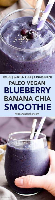 Paleo Blueberry Banana Chia Smoothie (V, GF, Paleo): a 4-ingredient recipe for antioxidant-rich and refreshing blueberry banana chia smoothies. #Vegan #GlutenFree #DairyFree | BeamingBaker.com