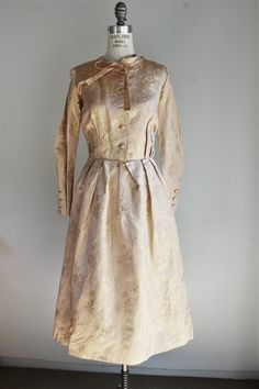 CLEARANCE: Vintage 1950s Gold Damask Shirtwaist Dress from Toadstool Farm Vintage, Online Vintage Clothing Store
