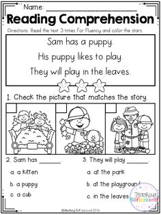 Inside you will find 25 Kindergarten Reading comprehension Passages. These reading comprehension packets include the following activities: -Read 3 times for fluency -Short answer questions -Fill in the blank questions -Multiple choices -Match the story with the pictures -Sequencing  These reading passages are great for both beginning readers, struggling readers, and ESL students in Kindergarten,1st grade, and 2nd grade.