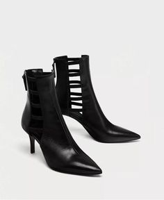 1ad25e0d986 ZARA HIGH HEEL LEATHER ANKLE BOOTS WITH STRAPS Pointed Toe Caged Booties  Shoes 6  Zara
