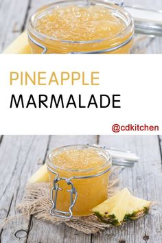 This sweet marmalade made from fresh pineapple and flavored with a hint of zesty lemon makes a delicious spread. Jelly Recipes, Jam Recipes, Canning Recipes, Canning Tips, Cooker Recipes, Canning Pineapple, Pineapple Jam, Fresh Pineapple Recipes, Pineapple Marmalade Recipe