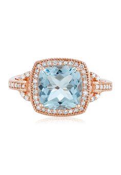 Effy Aquarius 14K Rose Gold Aquamarine and Diamond Ring, 3.10 TCW