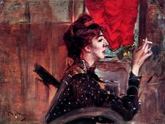 The Red Curtain, Giovanni Boldini