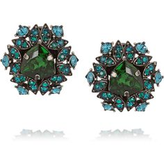 Lanvin Iconic gunmetal-tone crystal clip earrings (2165 QAR) ❤ liked on Polyvore featuring jewelry, earrings, green, lanvin earrings, gunmetal jewelry, green earrings, green jewelry and clip on earrings
