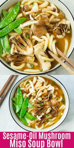 Sesame-Soy Mushroom Miso Soup Bowl - easy udon noodle soup topped with sesame oil and soy sauce mushrooms. Udon Soup Recipe, Miso Recipe, Soup Recipes, Cooking Recipes, Vegan Udon Noodle Recipe, Vegetarian Dinners, Vegetarian Recipes, Healthy Recipes, Bon Appetit