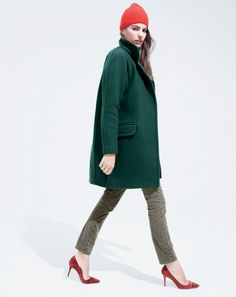 J.Crew women's stadium-cloth standing collar coat, Elsie velvet pumps, and cashmere hat.