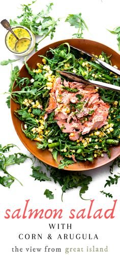 Blistered Corn and Asparagus Salad with Salmon dressed in a creamy lemon chive dressing ~ a healthy vibrant main course salad that satisfies ~ a win win! Asparagus Salad, Arugula Salad, Salmon Recipes, Beef Recipes, Top Recipes, Healthy Salads, Healthy Recipes, Fresco, Cooking Salmon
