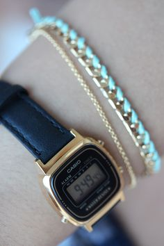 Womens black Casio leather watch with chain bracelet