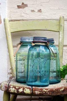 Antique Blue Canning Jar-2 quart via Etsy