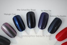 Essie nail polish swatches: Midnight Cami, After School Boy Blazer, No More Film, and Bobbing for Baubles