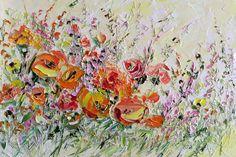 Peinture à l'huile paysage paysage toile d'Art peinture paysage abstrait Original fleurs oranges empâtement Wall Art Russie salon personnalisé