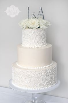 Jen and Austin's Big Day! Lace Buttercream Ivory and White cake! - La Dolce Dough, Sylvania Ohio