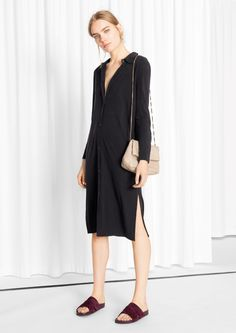 & Other Stories image 1 of Silk Jersey Shirt Dress in Black
