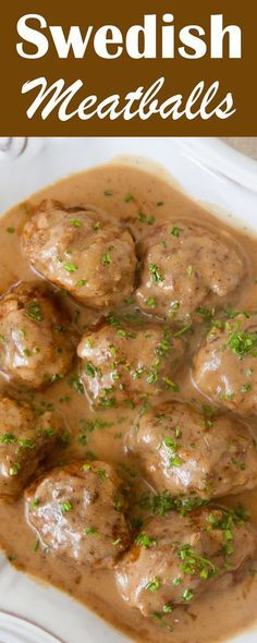 Truly the BEST Swedish meatballs! Made from a mixture of beef and pork, flavored with nutmeg and cardamom and served with a rich beef and sour cream gravy. On http://SimplyRecipes.com