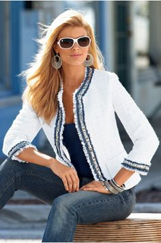 Love the white jacket with blue trim, goes perfectly with blue jeans!
