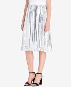 Catherine Catherine Malandrino Duncan Pleated Midi Skirt - Silver