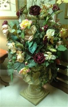 Large rustic pot with a gorgeous rich custom floral.  Yesterdays Treasures Consignment  1185 Second Street Suite H  Brentwood  925 - 516 - 8549   www.Yesterdayststore.com