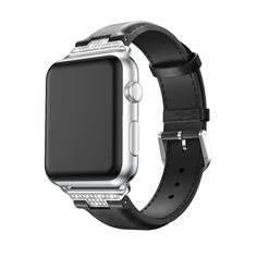 Apple Watch Series 5 4 3 2 Band, Luxury Leather Formal Strap for iWatch Apple Watch Serie 1, Apple Watch Bands Fashion, Apple Watch Wristbands, Apple Watch Leather, Apple Watch Sizes, Apple Band, Swiss Army Watches, Leather Wristbands, Crystal Rhinestone