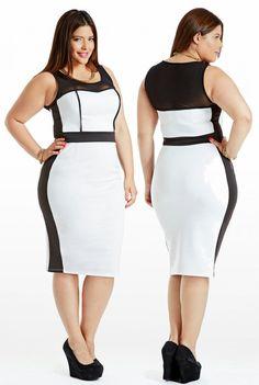 Curvy Woman White and Black Dress and Black High Heels Curvy Girl Fashion, Plus Size Fashion, Fashion Models, Plus Size Dresses, Plus Size Outfits, Cute Dresses, Look Plus Size, Plus Size Women, Modelos Plus Size