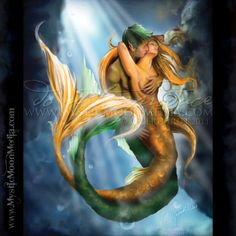 """""""Passionate Seas"""" - from my Beloved Collection. Mermaids intertwined... passionate and full of love. http://www.mysticmoonmedia.com/collections/art-gallery-giclee-prints-mystic-moon-media/products/passionate-seas #FantasyArt #FantasyArtwork #DigitalPainting #FantasyArtPrints #digitalFantasyArt #mermaid #mermaidcouple #love  -C.Gerhardt"""