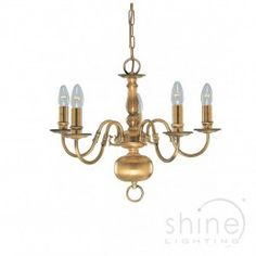 Solid Brass Traditional Multi Arm Antique Brass Ceiling Light