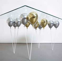 Suspended By Shiny Gold And Silver Balloons: UP Dining Tableu2026