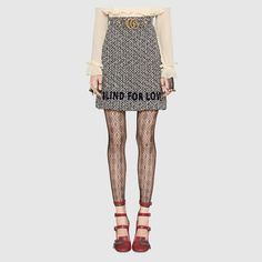 Gucci Embroidered tweed skirt Detail 3