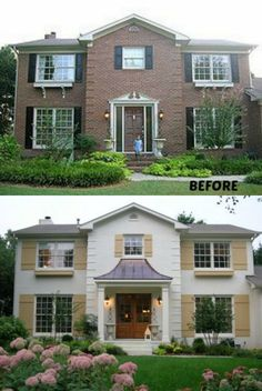 House Exterior Colonial Painted Bricks For 2019 Exterior Colonial, Colonial House Exteriors, Craftsman Exterior, Cottage Exterior, Exterior Paint Colors, Exterior House Colors, Exterior Design, Grey Exterior, Modern Exterior