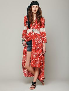 Printed Maxi Dress-cute! Would also work as a light weight coat over another long dress.