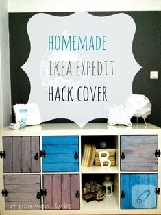 DIY IKEA Kallax storage coffee table (via makescoutdiy) Ikea Kallax Shelf, Ikea Kallax Hack, Ikea Hackers, Shabby, Furniture Makeover, Diy Furniture, Bookshelf Door, Bookshelves, Distressed Doors