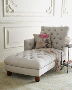 linen tufted chaise