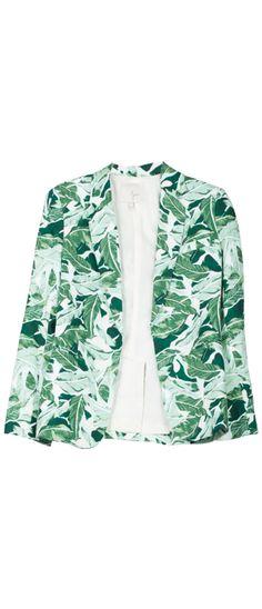 Banana leaf print blazer