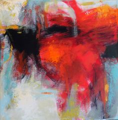 Small Abstraction with Red, 12x12 acrylic on canvas by Debora L.Stewart