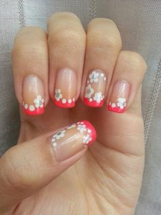 ~Neon pink french tips with white flowers~