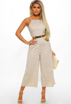 26435a2c213 Hello Sweetie Nude Checked Culotte Jumpsuit. Hello Sweetie Nude Checked  Culotte Jumpsuit