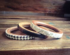 Set of Skinny Bangles Dark Wood Bracelets in by BeauMiracleJewelry, €25.00
