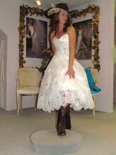 Country Wedding Dresses with Boots | Belle Bridal Wedding Dress, Laurel Cowgirl Boots and Hat! #wedding # ...