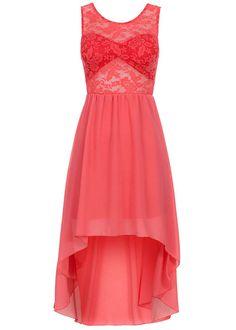 Styleboom Fashion Damen Vokuhila Kleid teils transp Spitze Gummizug coral pink - 77onlineshop
