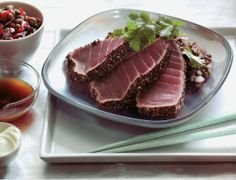 Challenge yourself but reap the rewards with this stunning Japanese style seared tuna sashimi recipe served with a spicy lentil salad, wasabi mayonnaise and soy & lime dipping sauce.
