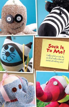 Cuddly and oh-so-cute, this zoo-ful of DIY critters all started out as ordinary socks.