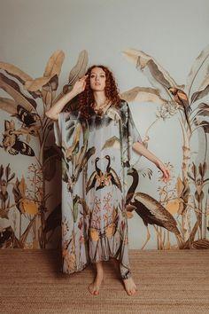 Carolina K Xim Kaftan - Tropical Print | Garmentory Majestic Animals, Lunar New, Kaftan, Print Patterns, Tropical, Model, Prints, How To Wear, Cape