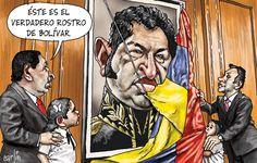 El rostro de Simón Bolívar que mostró Hugo Chávez, según Carlín.