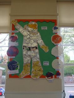Giant Space Man Display, planets & can add stars & black background. Space Classroom, Eyfs Classroom, Classroom Themes, Class Displays, School Displays, Classroom Displays, Eyfs Activities, Space Activities, Space Projects