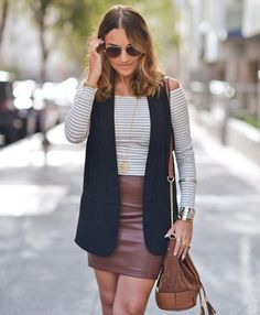 Discover the latest women's trends. Red Leather Skirt, Autumn Winter Fashion, Winter Style, Black Cover, Latest Dress, Online Shopping Clothes, Stripes, Clothes For Women, My Style